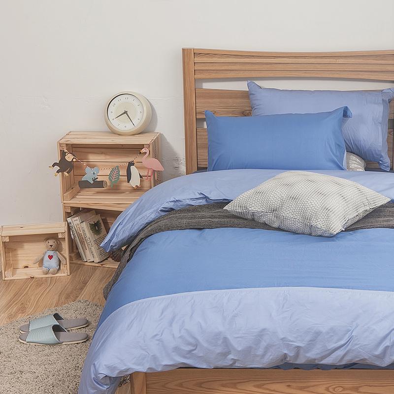 床包/雙人【簡單生活系列-雙藍】100%精梳棉雙人床包含兩件枕套