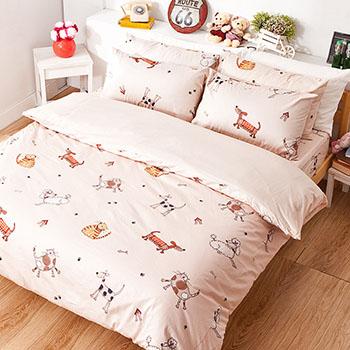 床包/雙人【可愛家族】100%精梳棉雙人床包含兩件枕套