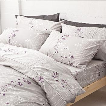 床包/雙人【蒲公英之曲】100%精梳棉雙人床包含兩件枕套