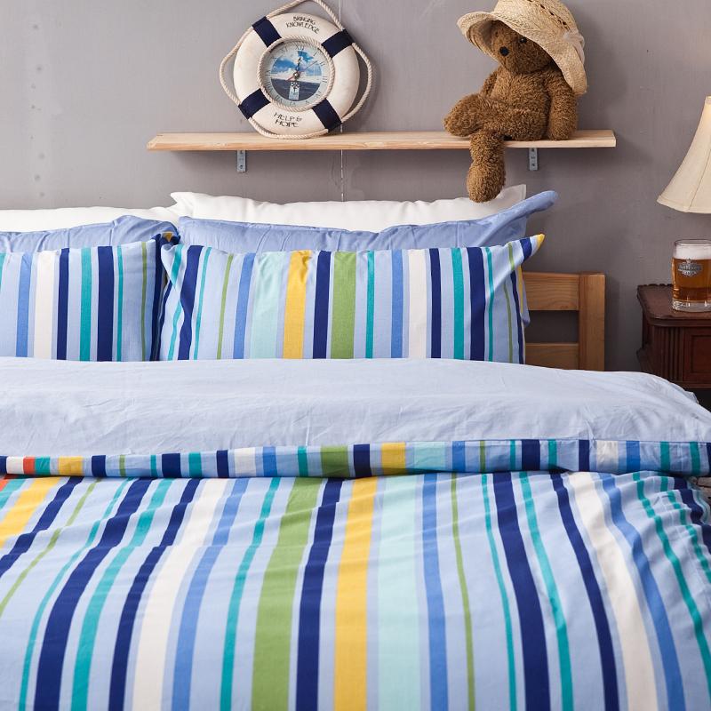 床包/雙人【海洋特調】100%純棉雙人床包含兩件枕套