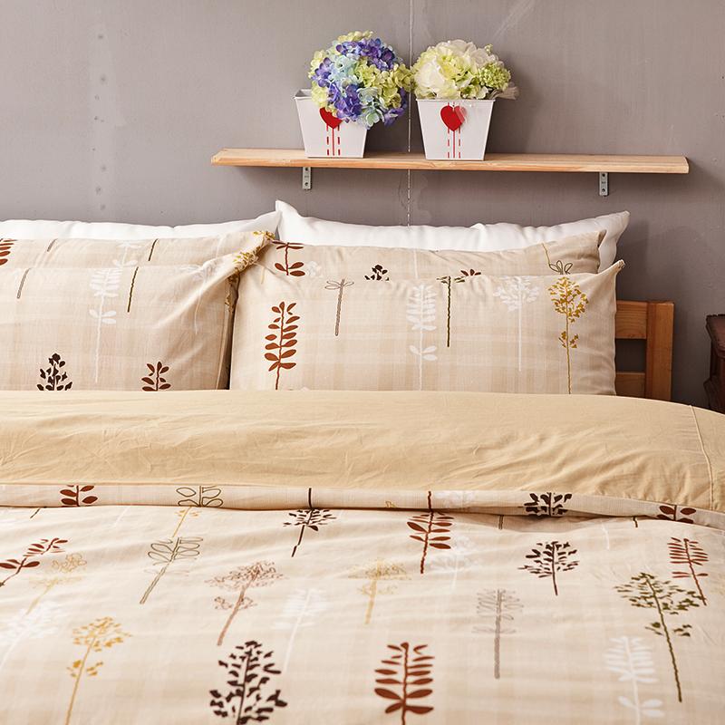 床包/雙人【夏日之森】100%純棉雙人床包含兩件枕套