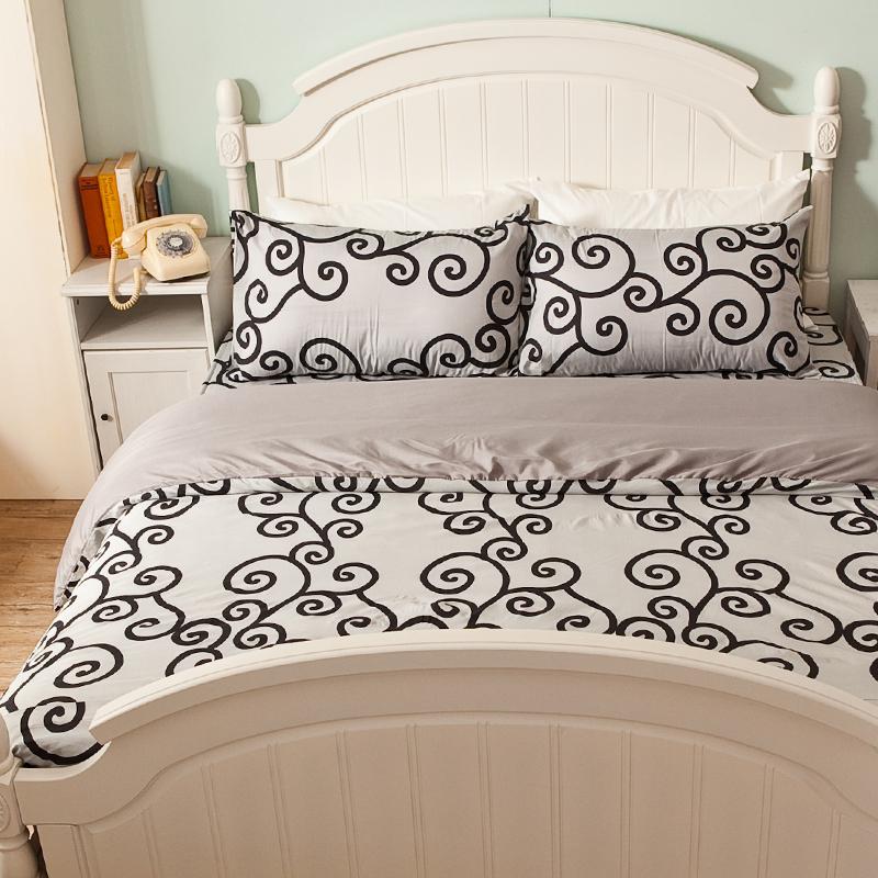 床包/雙人【里昂莊園黑】水蜜桃絲雙人床包含兩件枕套