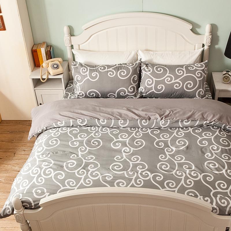 床包/雙人【里昂莊園灰】水蜜桃絲雙人床包含兩件枕套