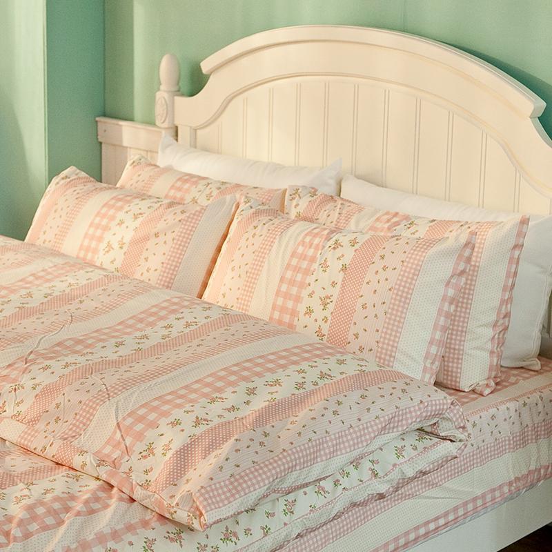 床包/雙人【漫步花園粉】雪紡絲磨毛雙人床包含兩件枕套
