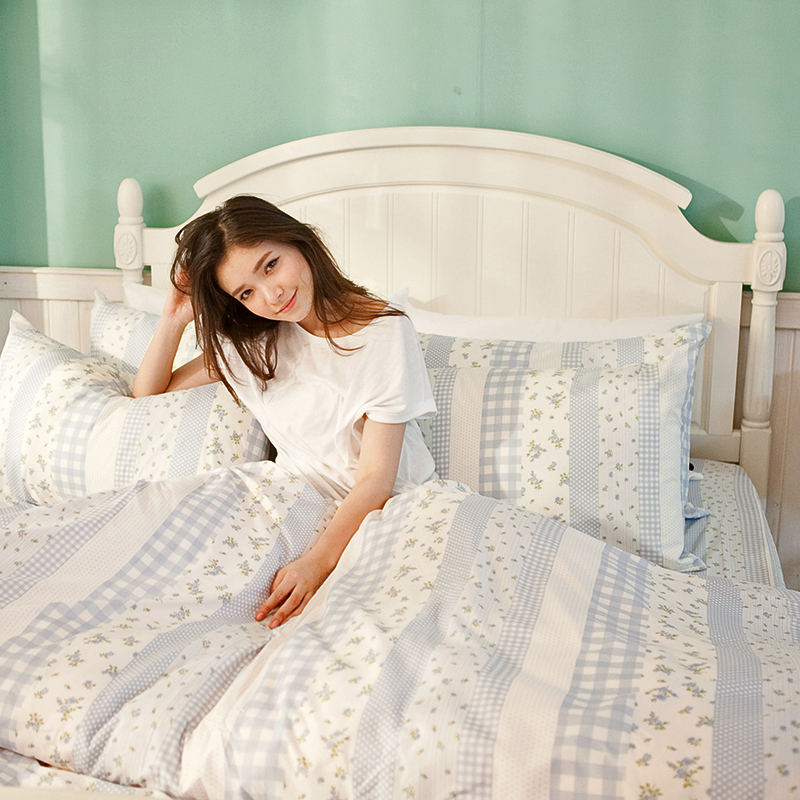 床包/雙人【漫步花園藍】雪紡絲磨毛雙人床包含兩件枕套