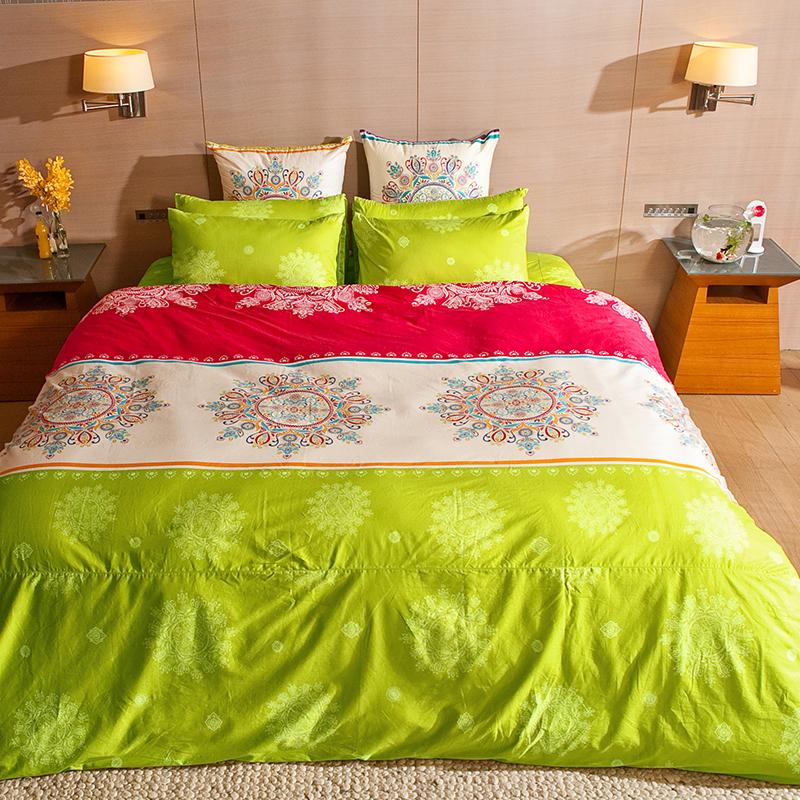 床包/雙人【虹舞‧妍】100%精梳棉雙人床包含兩件枕套