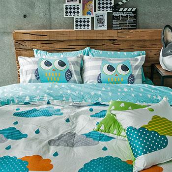 床包/雙人【遇見朵朵藍】100%精梳棉雙人床包含兩件枕套