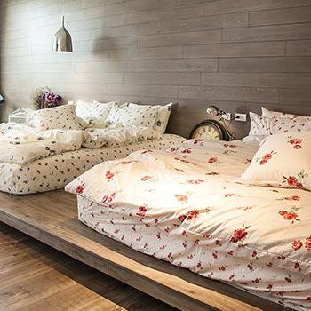 床包/雙人【玫果雪酪粉】100%精梳棉雙人床包含兩件枕套