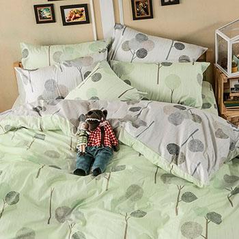 床包/雙人【晨曦之柏】100%精梳棉雙人床包含兩件枕套