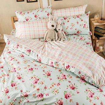 床包/雙人【玫瑰粉格】100%精梳棉雙人床包含兩件枕套