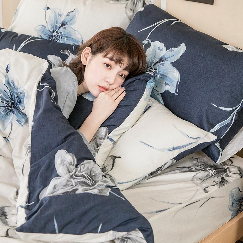 床包/雙人【漫漫花徑】100%精梳棉雙人床包含兩件枕套