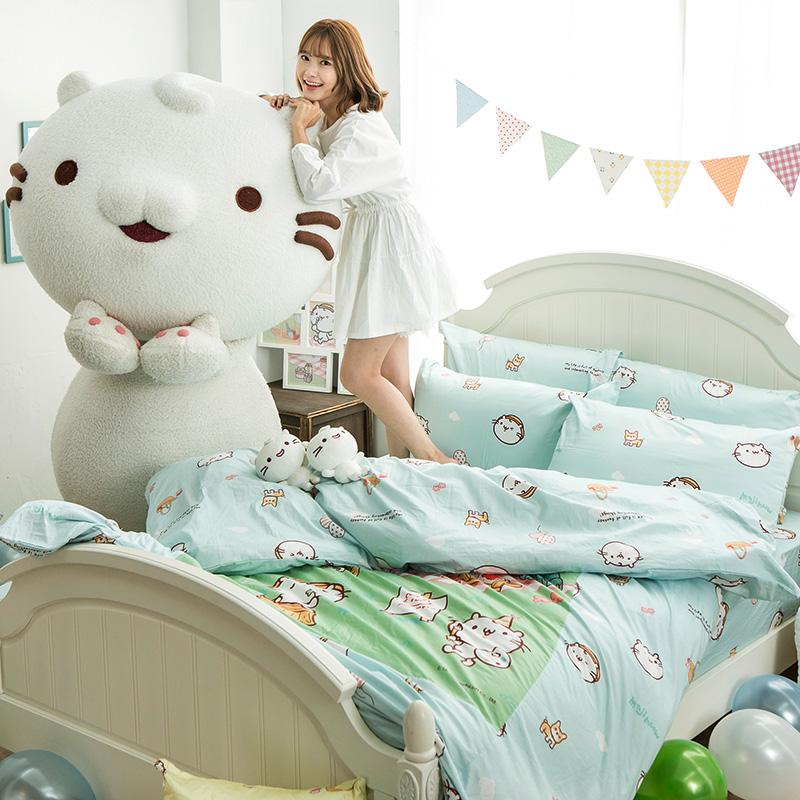 床包/雙人【麻吉貓野餐派對藍】100%精梳棉雙人床包含兩件枕套