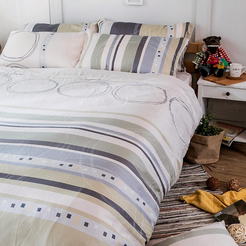 床包/雙人【彩遊之嬉-綠】40支天絲雙人床包含兩件枕套