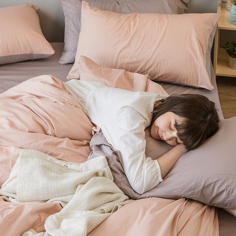 床包/雙人【撞色系列-可可粉】100%精梳棉雙人床包含兩件枕套