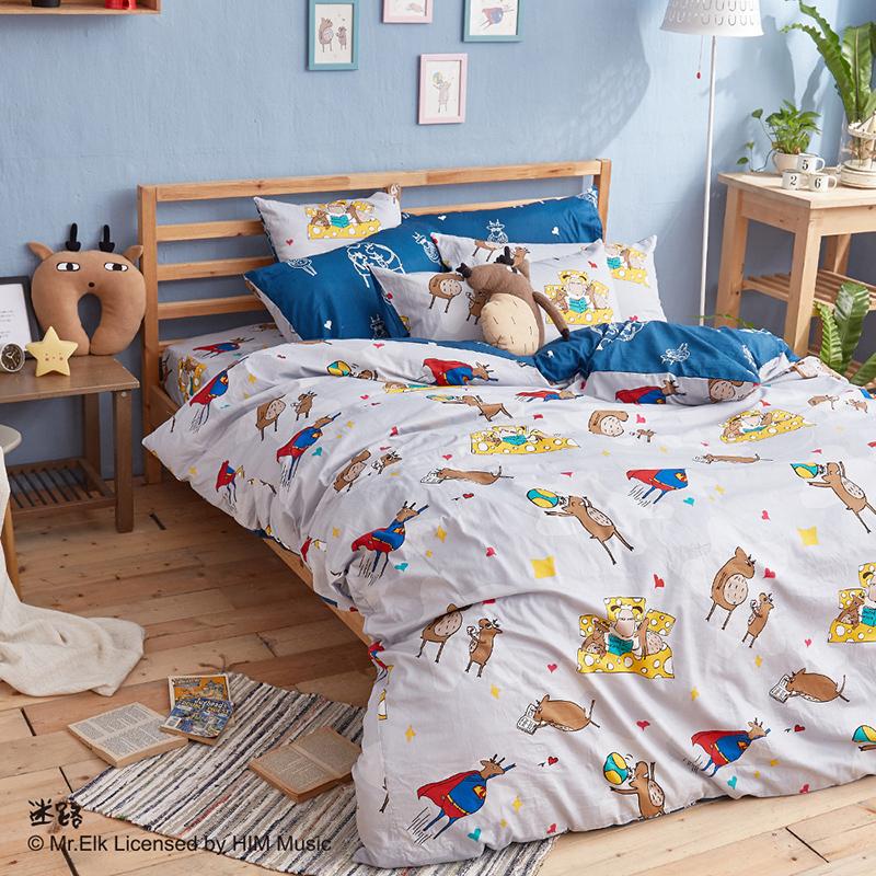 床包/雙人【迷路的床邊故事-灰】100%精梳棉雙人床包含兩件枕套