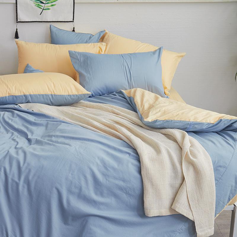 床包/雙人【撞色系列-日出藍】100%精梳棉雙人床包含兩件枕套