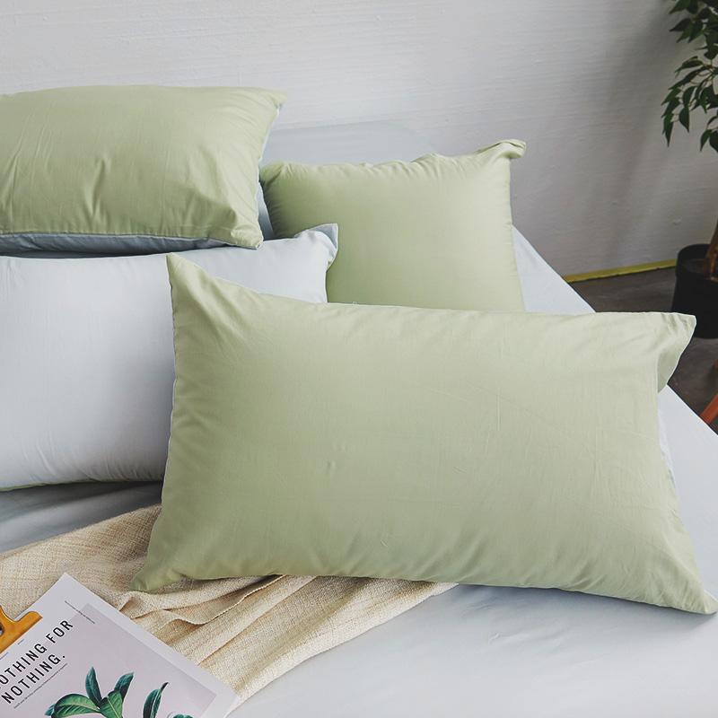 床包/雙人【撞色系列-清新綠】100%精梳棉雙人床包含兩件枕套