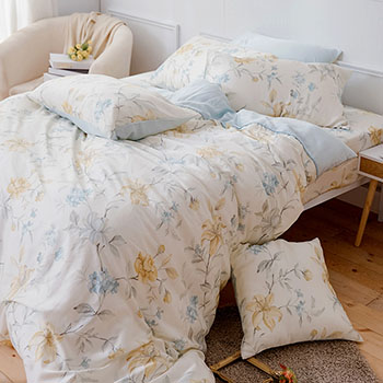 床包/雙人【恬淡花晴】40支天絲雙人床包含二件枕套