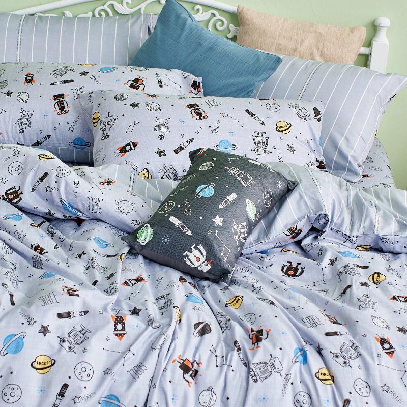 床包/雙人【宇宙塗鴉計畫-引力灰】100%精梳棉雙人床包含二件枕套