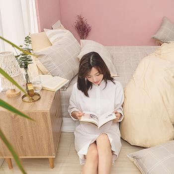 床包/雙人【靜謐】100%精梳棉雙人床包含二件枕套
