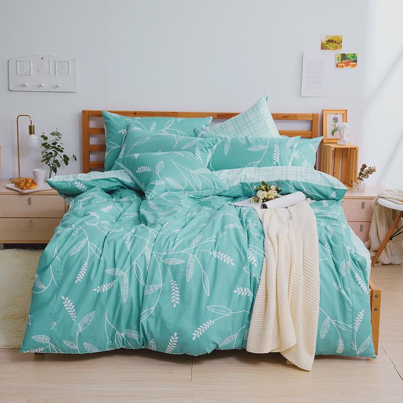 床包/雙人【小葉曲】100%精梳棉雙人床包含兩件枕套