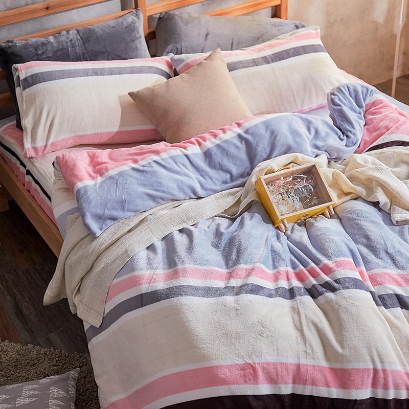 保暖法蘭絨【波麗露】雙人鋪棉床包被毯組
