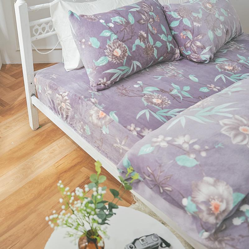 保暖法蘭絨【艾雪莉】雙人鋪棉床包被毯組
