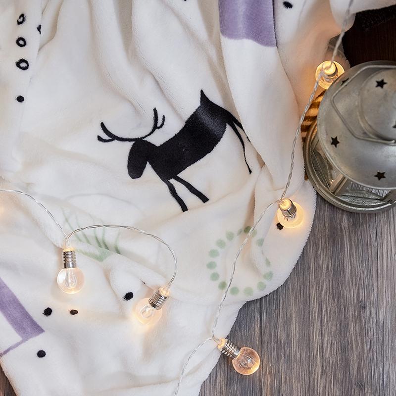 保暖法蘭絨【蒂蒂小鹿】雙人鋪棉床包被毯組