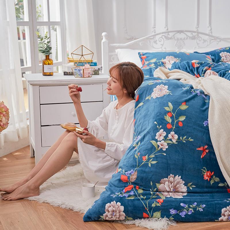 保暖法蘭絨【蔚藍花吟】雙人鋪棉床包被毯組