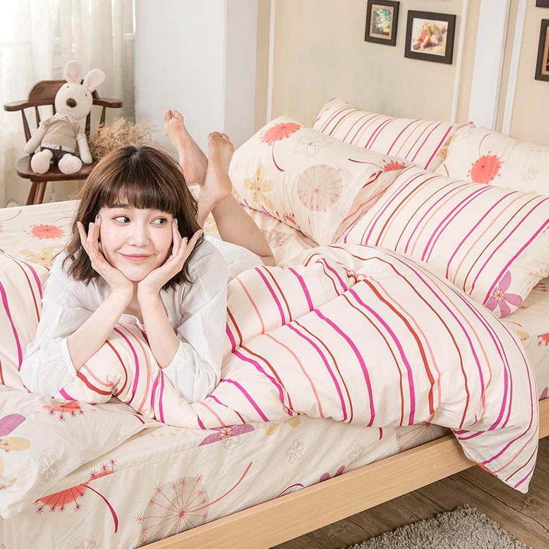床包/雙人加大【輕盈粉】100%純棉雙人加大床包含兩件枕套