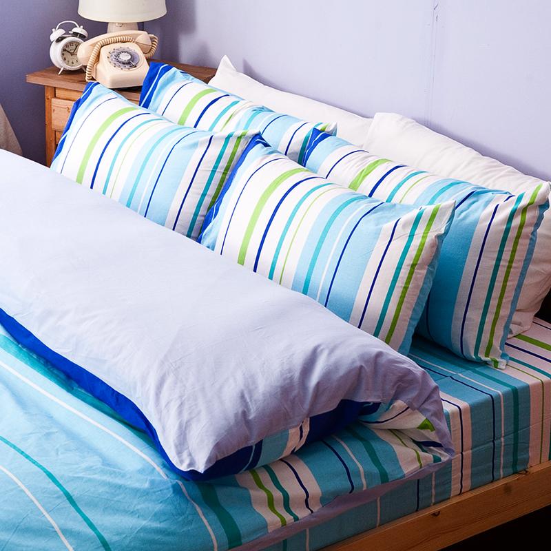 床包/雙人加大【繽紛特調藍】100%純棉雙人加大床包含兩件枕套