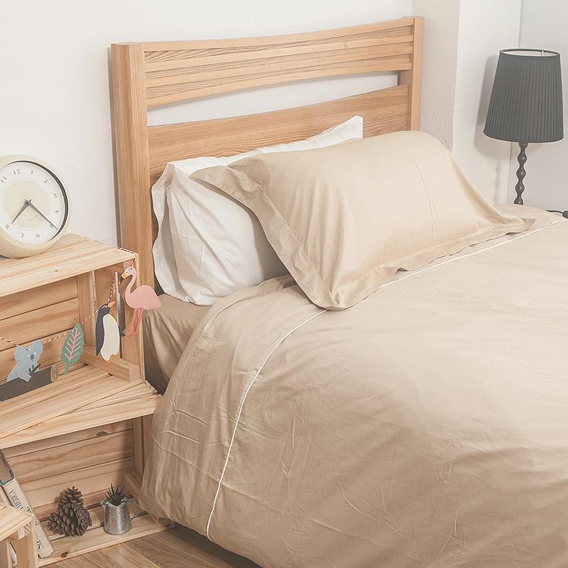 床包/雙人加大【簡單生活系列-米】100%精梳棉雙人加大床包含兩件枕套
