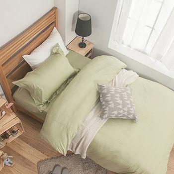 床包/雙人加大【簡單生活系列-果綠】100%精梳棉雙人加大床包含兩件枕套