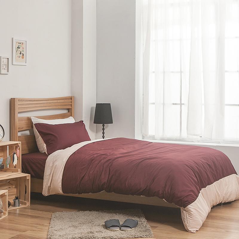 床包/雙人加大【簡單生活系列-棗粉】100%精梳棉雙人加大床包含兩件枕套