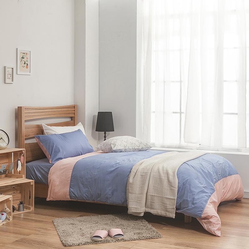 床包/雙人加大【簡單生活系列-藍粉】100%精梳棉雙人加大床包含兩件枕套