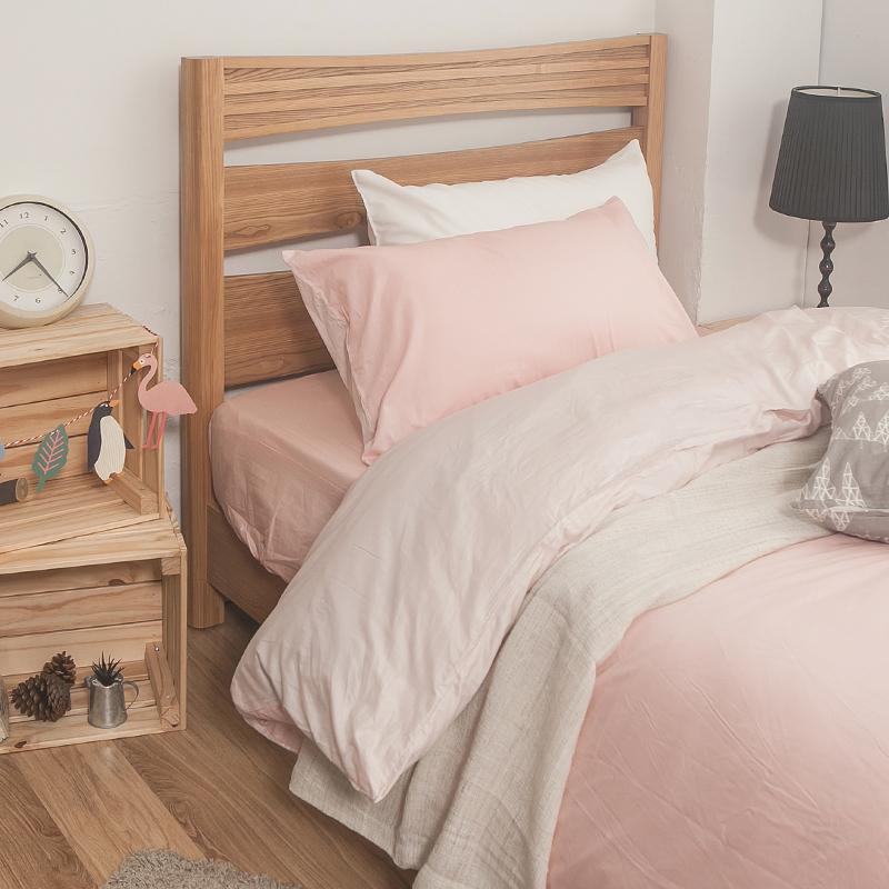 床包/雙人加大【簡單生活系列-雙粉】100%精梳棉雙人加大床包含兩件枕套