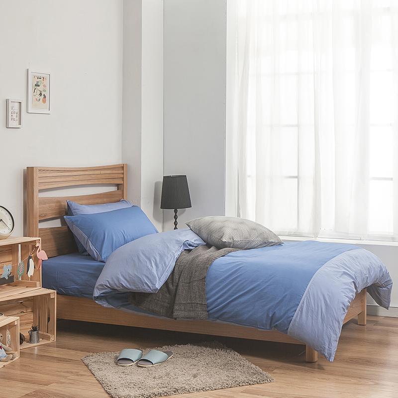 床包/雙人加大【簡單生活系列-雙藍】100%精梳棉雙人加大床包含兩件枕套