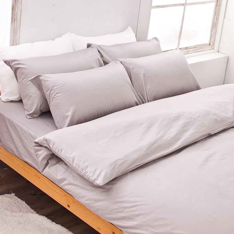床包/雙人加大【簡單生活系列-岩石巧克力】100%精梳棉雙人加大床包含兩件枕套