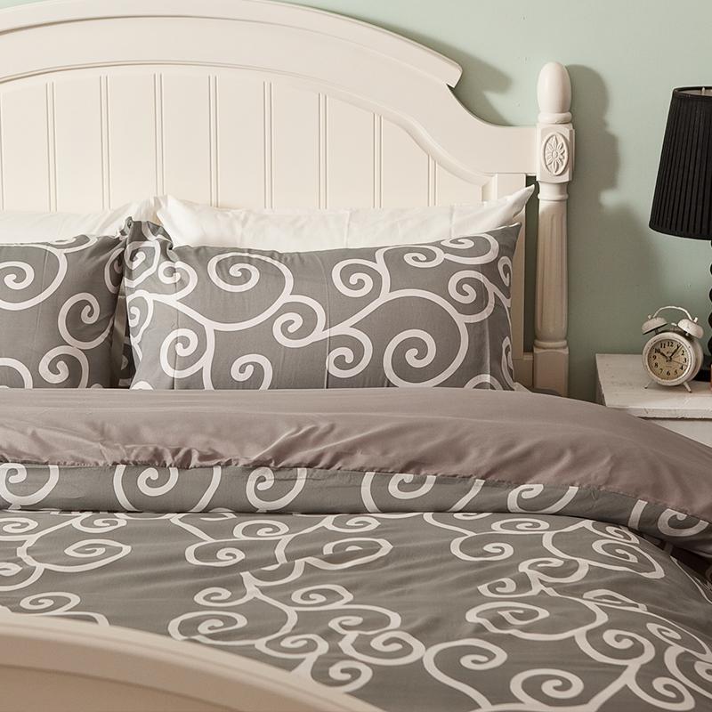 床包/雙人加大【里昂莊園灰】水蜜桃絲雙人加大床包含兩件枕套
