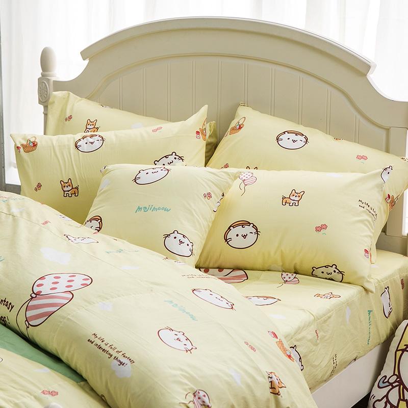 床包/雙人加大【麻吉貓野餐派對米】100%精梳棉雙人加大床包含兩件枕套