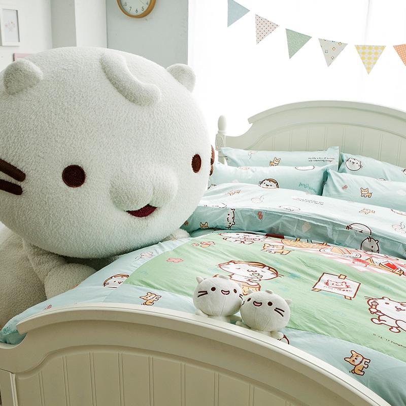 床包/雙人加大【麻吉貓野餐派對藍】100%精梳棉雙人加大床包含兩件枕套