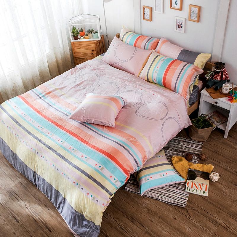 床包/雙人加大【彩遊之嬉-橘】40支天絲雙人加大床包含兩件枕套