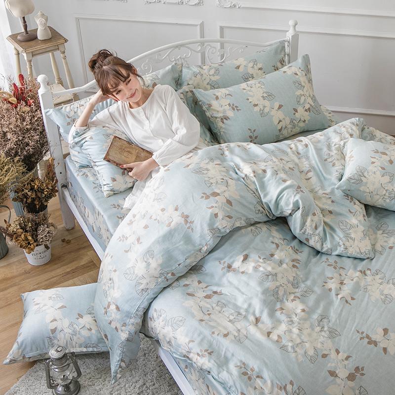 床包/雙人加大【月光葉影】60支純天絲雙人加大床包含兩件枕套