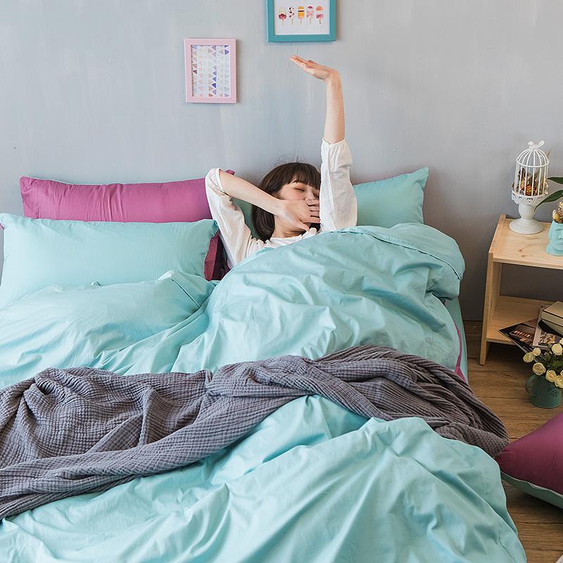 床包/雙人加大【撞色系列-水水綠】100%精梳棉雙人加大床包含兩件枕套