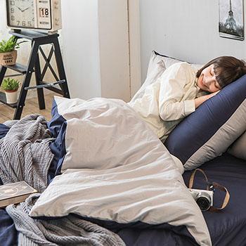 床包/雙人加大【撞色系列-紳士藍】100%精梳棉雙人加大床包含兩件枕套