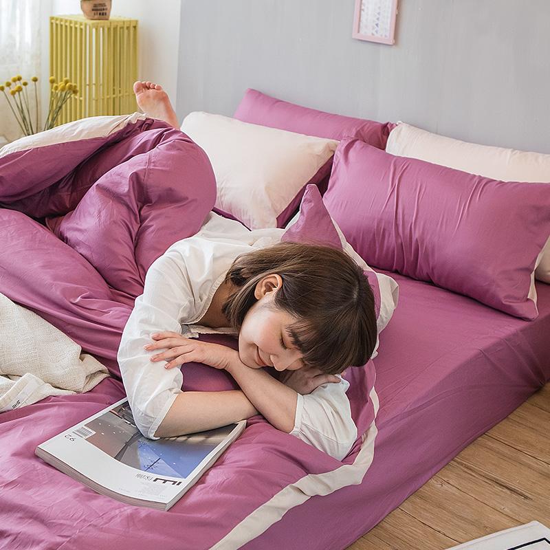 床包/雙人加大【撞色系列-波波紫】100%精梳棉雙人加大床包含兩件枕套