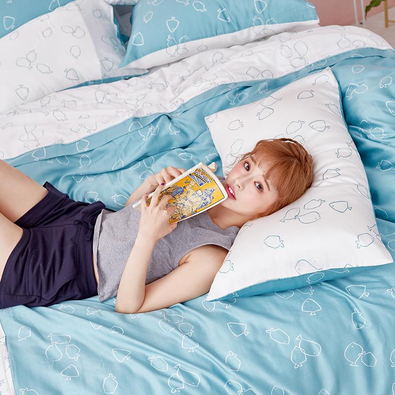 床包/雙人加大【魚悠悠】40支天絲雙人加大床包含兩件枕套