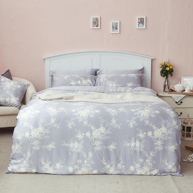 床包/雙人加大【漫花語調】60支天絲雙人加大床包含兩件枕套