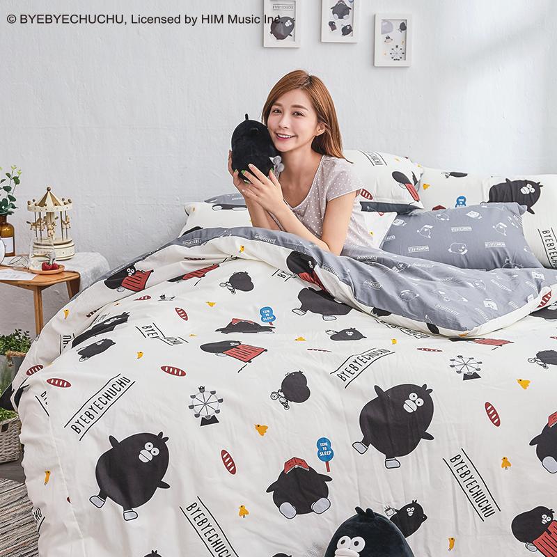 床包/雙人加大【奧樂雞的遊樂園】100%精梳棉雙人加大床包含兩件枕套