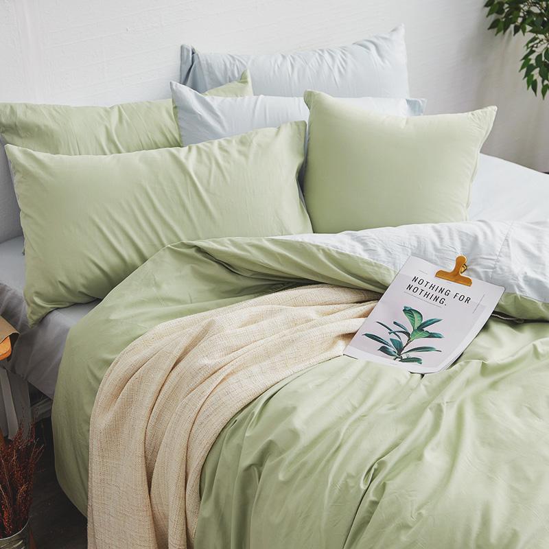 床包/雙人加大【撞色系列-清新綠】100%精梳棉雙人加大床包含兩件枕套